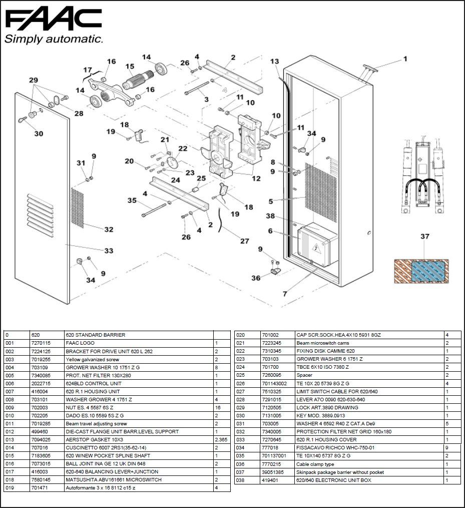 Faac 620 Exploded Diagrams